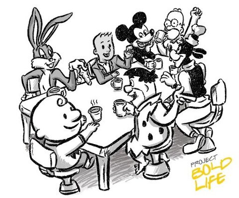 Boldy Mickey Homer and Others Chill at Table